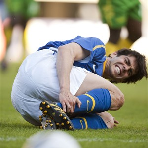 Kaká grimaces in pain after being fouled. Photo credit: fifa.com